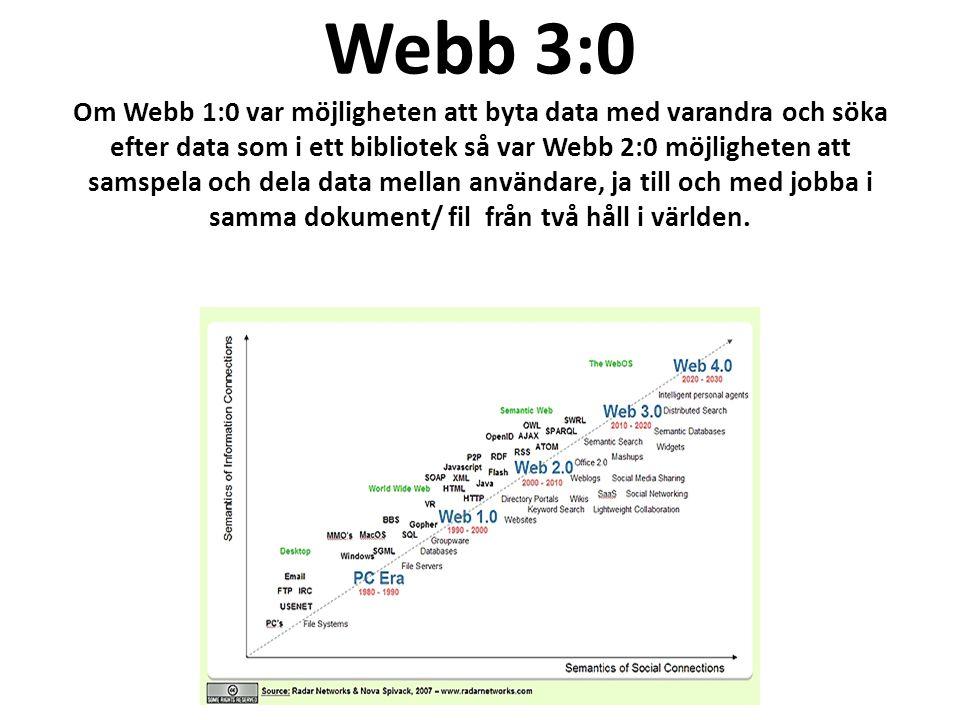 Webb 3:0 Om Webb 1:0 var möjligheten att byta data med varandra och söka efter data som i ett bibliotek så var Webb 2:0 möjligheten att samspela och dela data mellan användare, ja till och med jobba i samma dokument/ fil från två håll i världen.