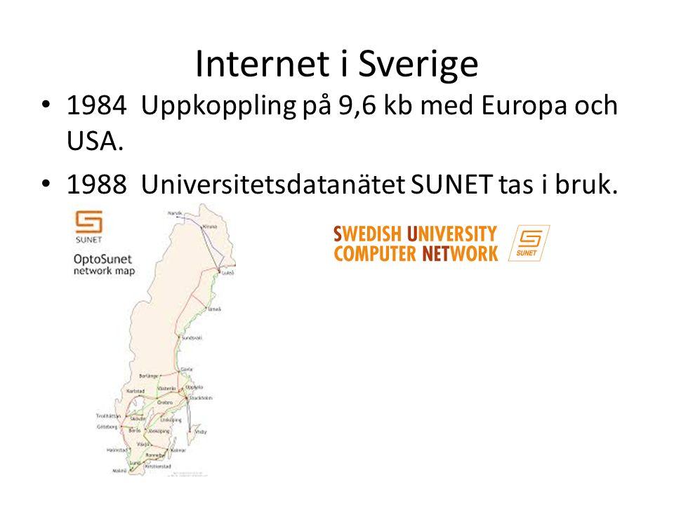 Internet i Sverige 1984 Uppkoppling på 9,6 kb med Europa och USA. 1988 Universitetsdatanätet SUNET tas i bruk.