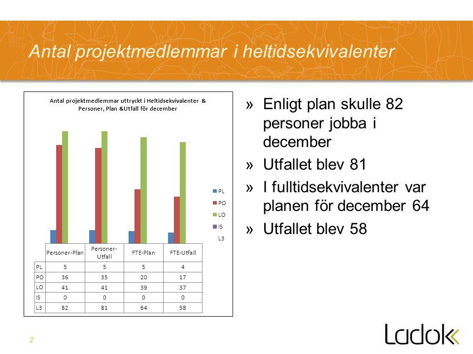 2 Antal projektmedlemmar i heltidsekvivalenter »Enligt plan skulle 82 personer jobba i december »Utfallet blev 81 »I fulltidsekvivalenter var planen för december 64 »Utfallet blev 58
