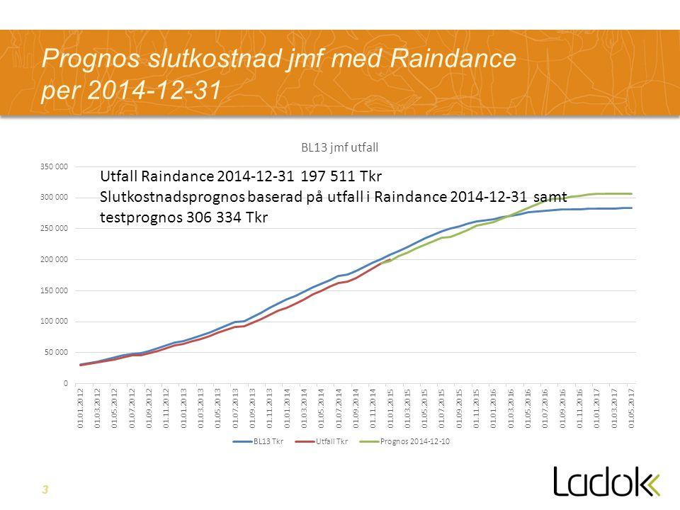 3 Prognos slutkostnad jmf med Raindance per 2014-12-31