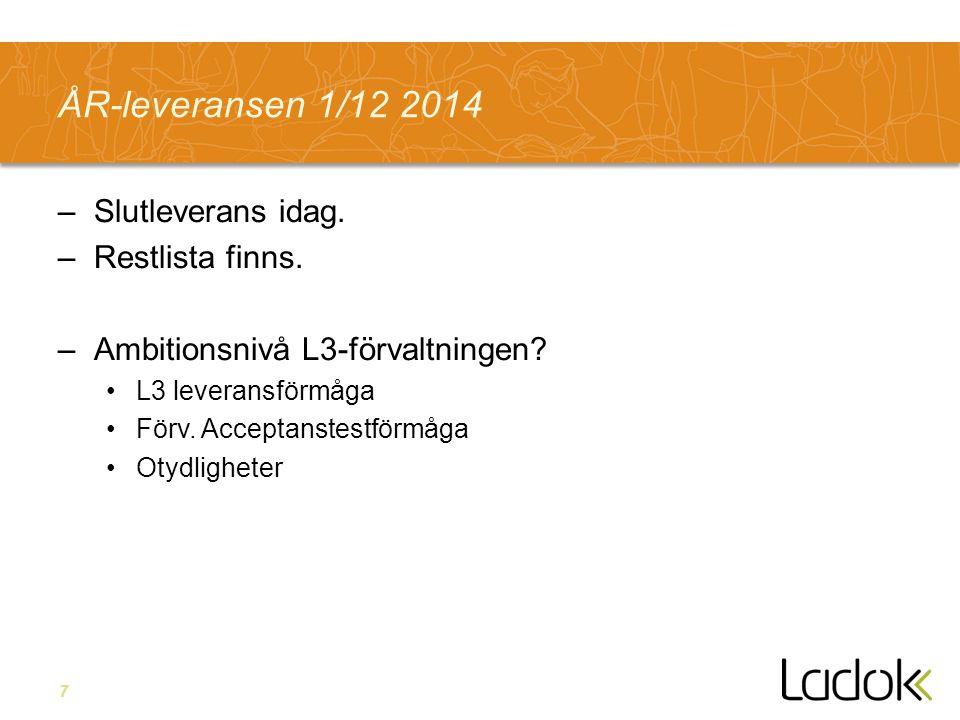 7 ÅR-leveransen 1/12 2014 –Slutleverans idag. –Restlista finns.