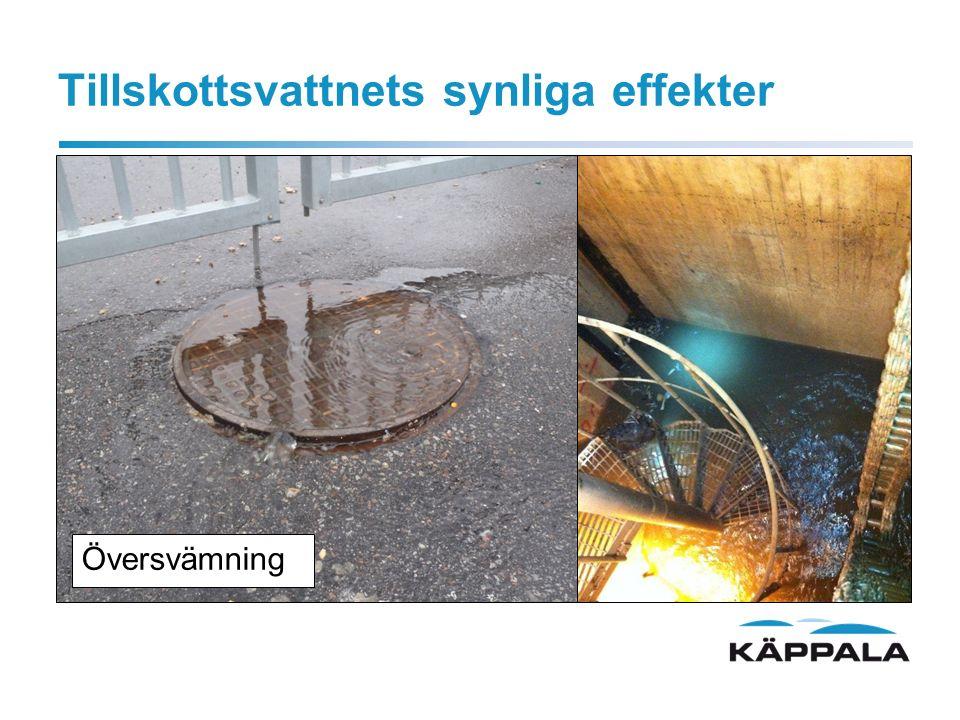 Tillskottsvatten- mindre synligt är: Försämring av reningsprocessen Jäsning i rötkammare