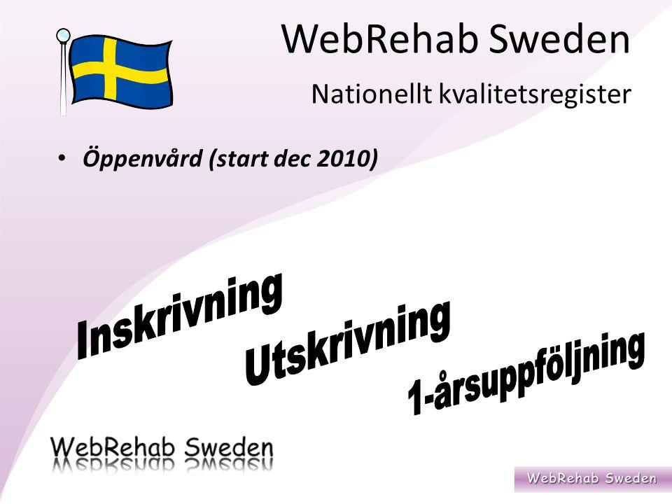 WebRehab Sweden Nationellt kvalitetsregister Öppenvård (start dec 2010)