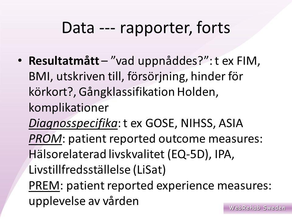Data --- rapporter, forts Resultatmått – vad uppnåddes : t ex FIM, BMI, utskriven till, försörjning, hinder för körkort , Gångklassifikation Holden, komplikationer Diagnosspecifika: t ex GOSE, NIHSS, ASIA PROM: patient reported outcome measures: Hälsorelaterad livskvalitet (EQ-5D), IPA, Livstillfredsställelse (LiSat) PREM: patient reported experience measures: upplevelse av vården