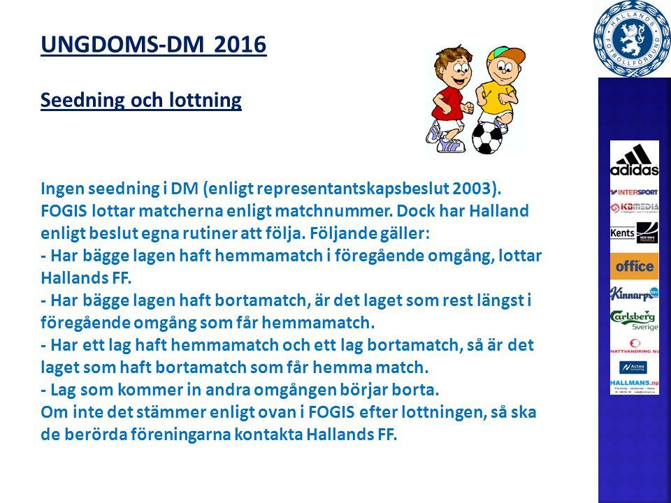UNGDOMS-DM 2016 Seedning och lottning Ingen seedning i DM (enligt representantskapsbeslut 2003).
