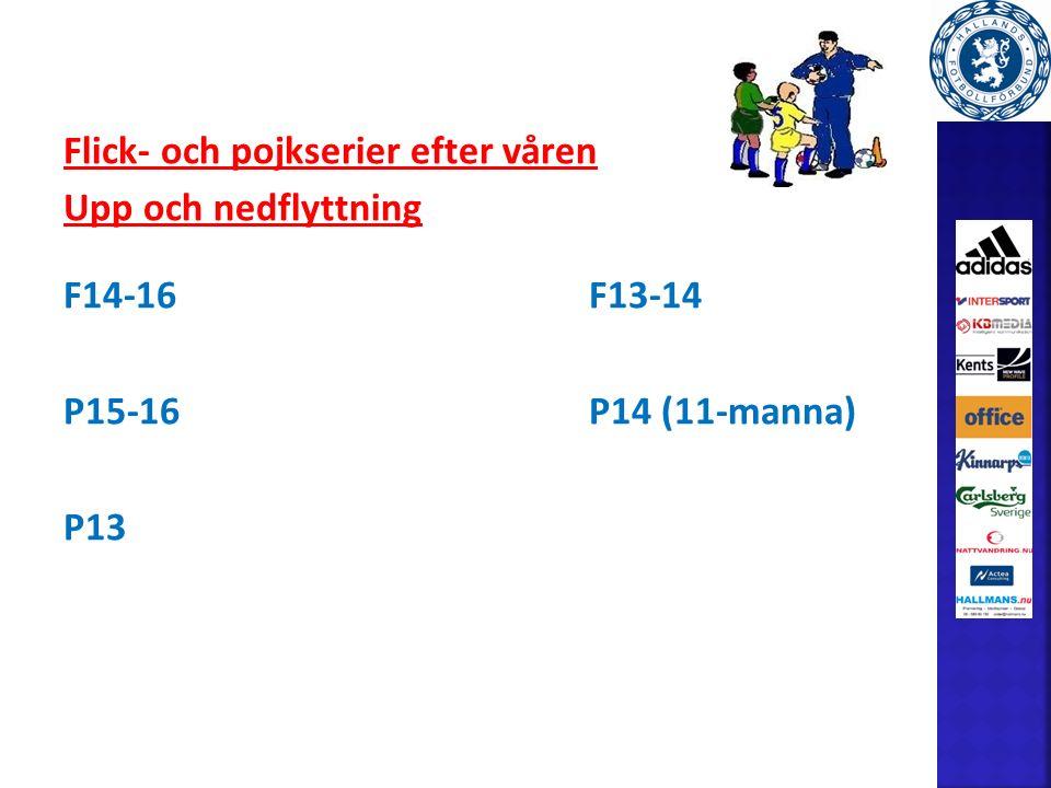 Flick- och pojkserier efter våren Upp och nedflyttning F14-16F13-14 P15-16P14 (11-manna) P13