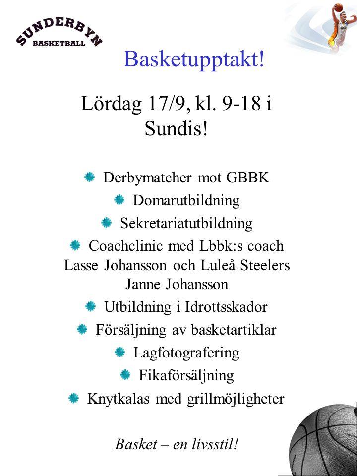 Basketupptakt. Lördag 17/9, kl. 9-18 i Sundis.