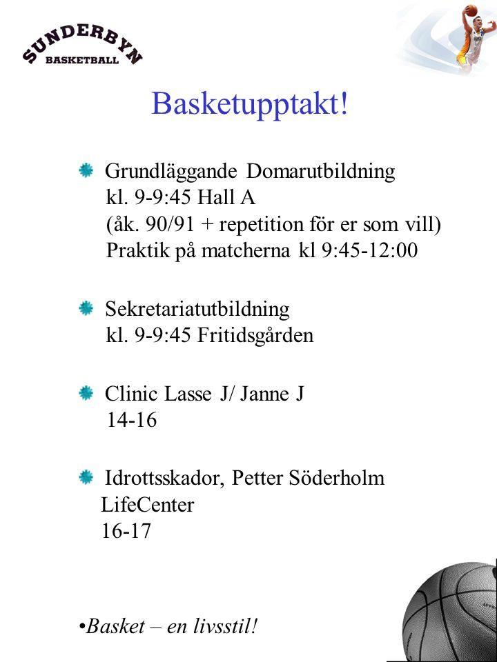 Basketupptakt. Grundläggande Domarutbildning kl. 9-9:45 Hall A (åk.