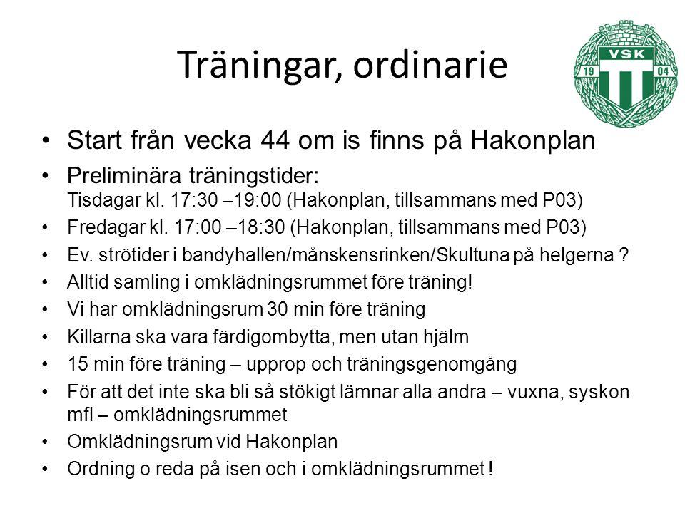 Träningar, ordinarie Start från vecka 44 om is finns på Hakonplan Preliminära träningstider: Tisdagar kl.