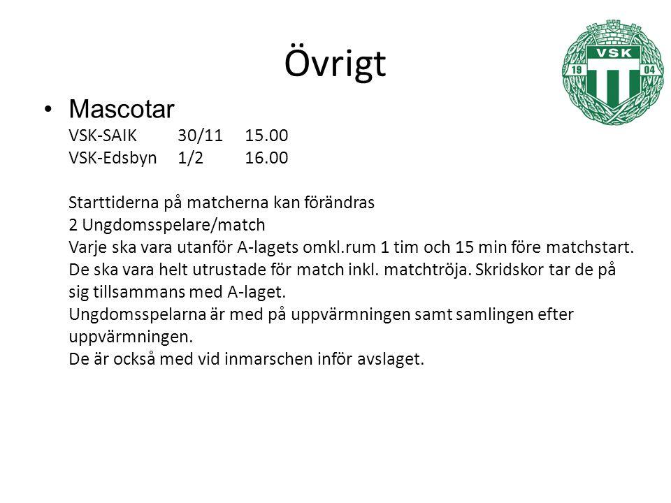 Övrigt Mascotar VSK-SAIK30/1115.00 VSK-Edsbyn1/216.00 Starttiderna på matcherna kan förändras 2 Ungdomsspelare/match Varje ska vara utanför A-lagets omkl.rum 1 tim och 15 min före matchstart.