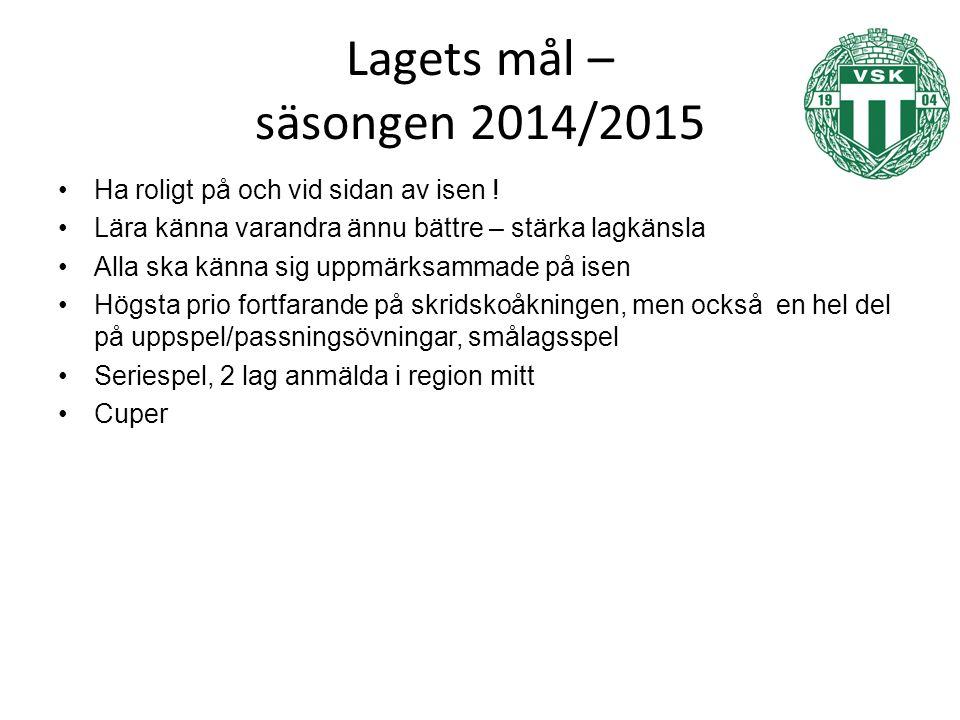 Lagets mål – säsongen 2014/2015 Ha roligt på och vid sidan av isen .