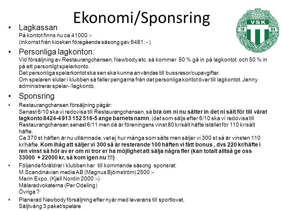 Ekonomi/Sponsring Lagkassan På kontot finns nu ca 41000 :- (inkomst från kiosken föregående säsong gav 6481 :- ) Personliga lagkonton: Vid försäljning av Restaurangchansen, Newbody etc.