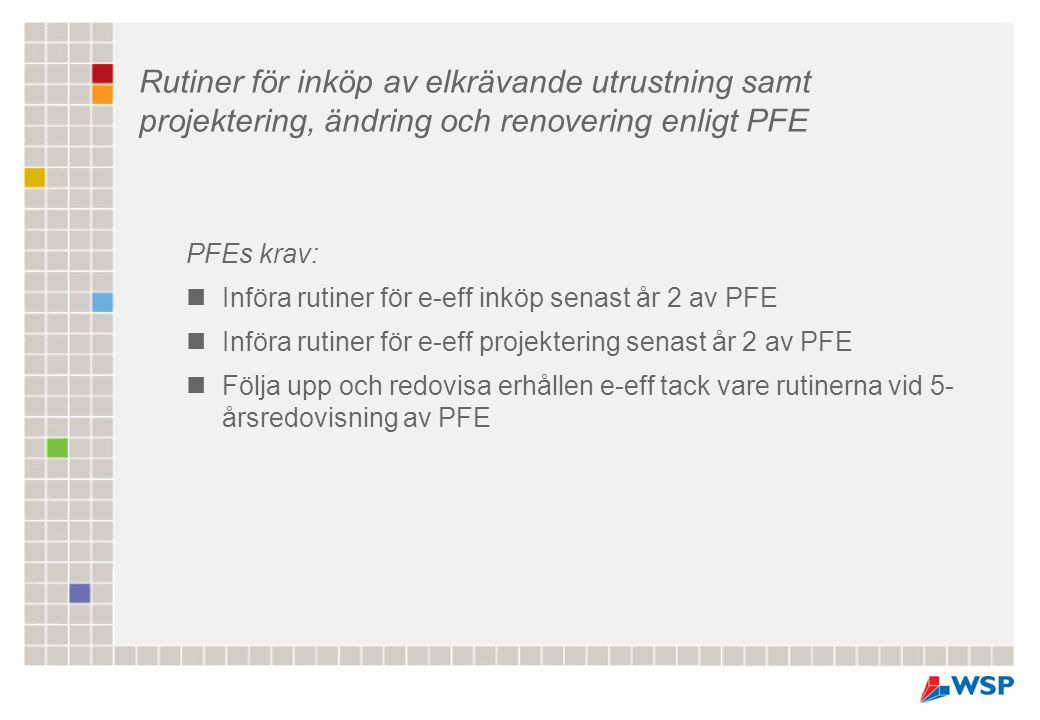 PFEs krav: Införa rutiner för e-eff inköp senast år 2 av PFE Införa rutiner för e-eff projektering senast år 2 av PFE Följa upp och redovisa erhållen e-eff tack vare rutinerna vid 5- årsredovisning av PFE