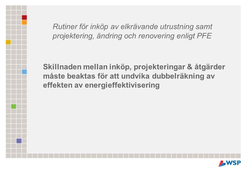 Skillnaden mellan inköp, projekteringar & åtgärder måste beaktas för att undvika dubbelräkning av effekten av energieffektivisering Rutiner för inköp av elkrävande utrustning samt projektering, ändring och renovering enligt PFE
