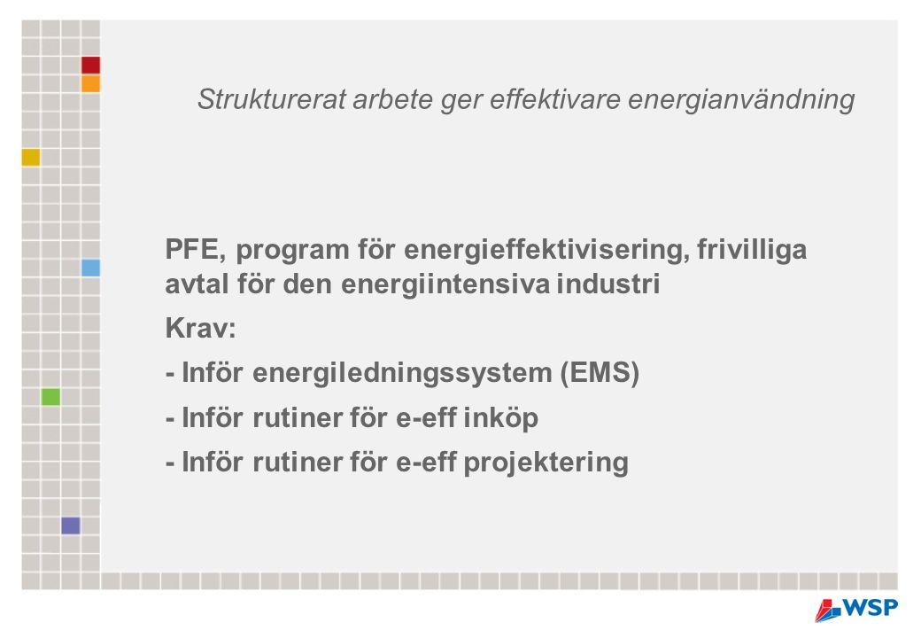 PFE, program för energieffektivisering, frivilliga avtal för den energiintensiva industri Krav: - Inför energiledningssystem (EMS) - Inför rutiner för
