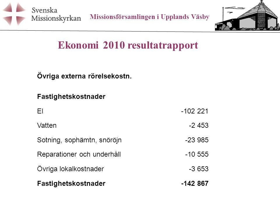 Missionsförsamlingen i Upplands Väsby Ekonomi 2010 resultatrapport Övriga externa rörelsekostn.