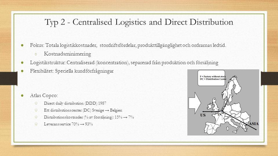 Typ 2 - Centralised Logistics and Direct Distribution ● Fokus: Totala logistikkostnader, stordriftsfördelar, produkttillgänglighet och ordrarnas ledtid.