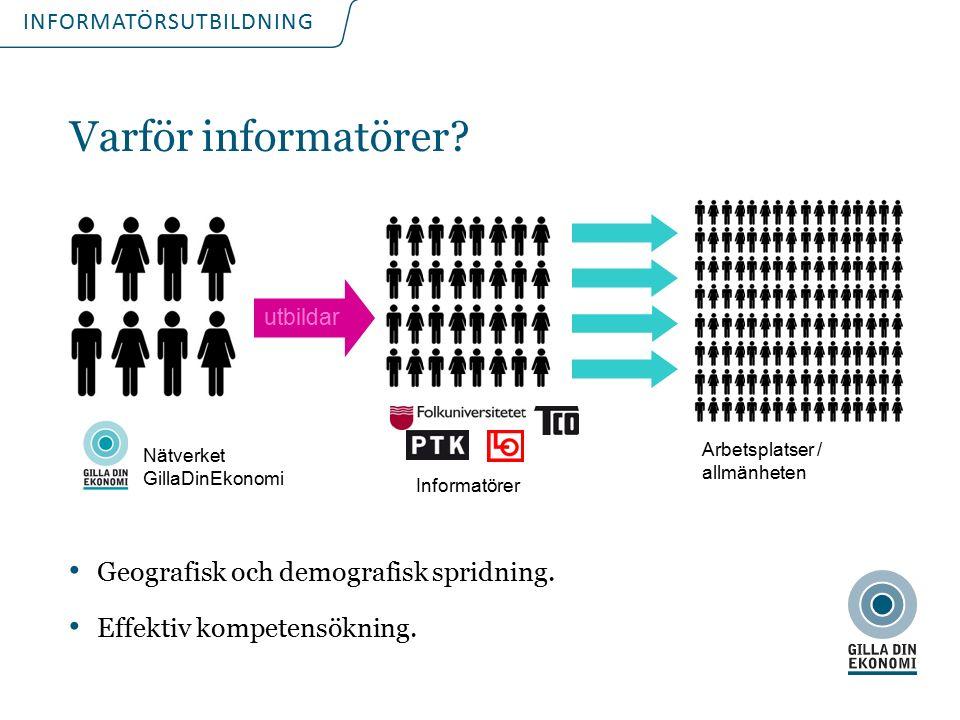 INFORMATÖRSUTBILDNING Varför informatörer? Geografisk och demografisk spridning. Effektiv kompetensökning. Nätverket GillaDinEkonomi Arbetsplatser / a