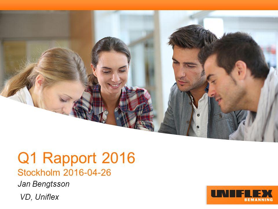 Q1 Rapport 2016 Stockholm 2016-04-26 Jan Bengtsson VD, Uniflex