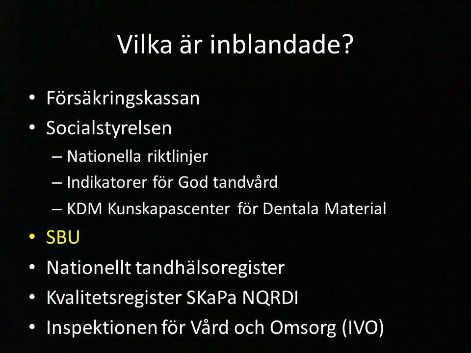 Vilka är inblandade? Försäkringskassan Socialstyrelsen – Nationella riktlinjer – Indikatorer för God tandvård – KDM Kunskapascenter för Dentala Materi