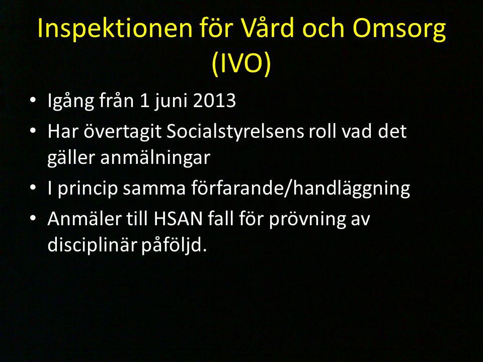 Igång från 1 juni 2013 Har övertagit Socialstyrelsens roll vad det gäller anmälningar I princip samma förfarande/handläggning Anmäler till HSAN fall f