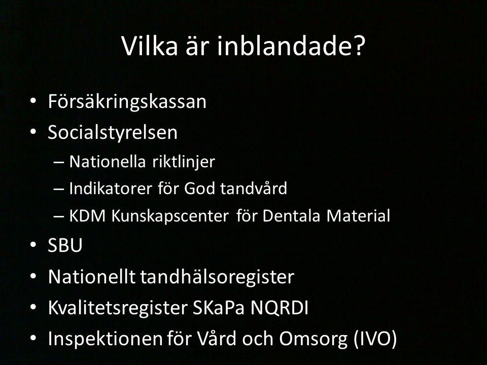 Vilka är inblandade? Försäkringskassan Socialstyrelsen – Nationella riktlinjer – Indikatorer för God tandvård – KDM Kunskapscenter för Dentala Materia