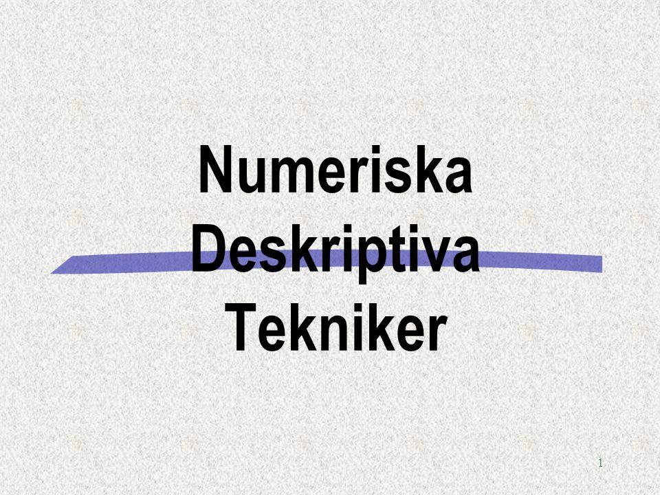 1 Numeriska Deskriptiva Tekniker