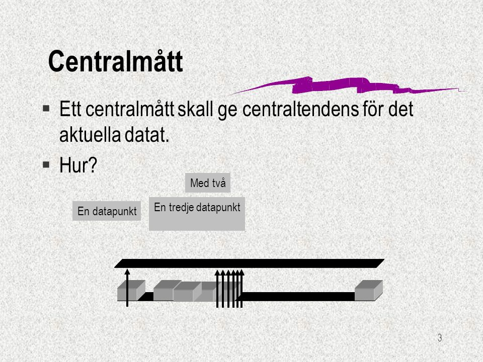 3 En datapunkt Centralmått §Ett centralmått skall ge centraltendens för det aktuella datat. §Hur? En tredje datapunkt Med två