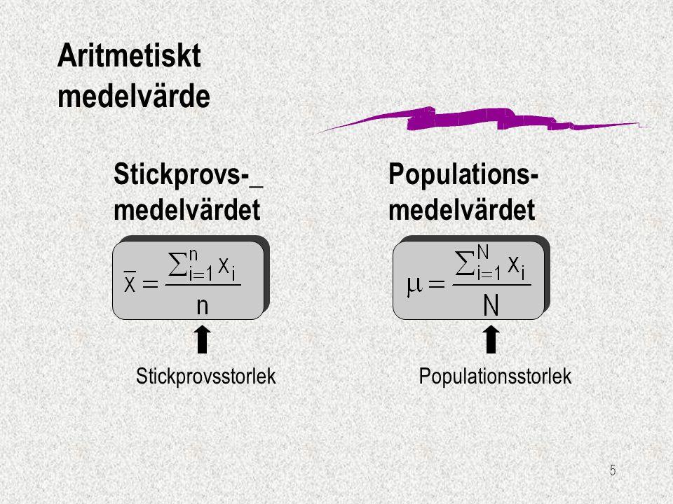 5 Stickprovs-_ medelvärdet Populations- medelvärdet StickprovsstorlekPopulationsstorlek Aritmetiskt medelvärde