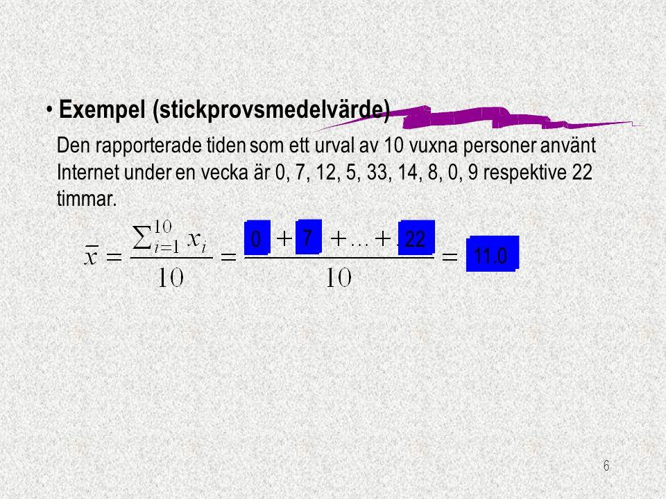 6 Exempel (stickprovsmedelvärde) Den rapporterade tiden som ett urval av 10 vuxna personer använt Internet under en vecka är 0, 7, 12, 5, 33, 14, 8, 0
