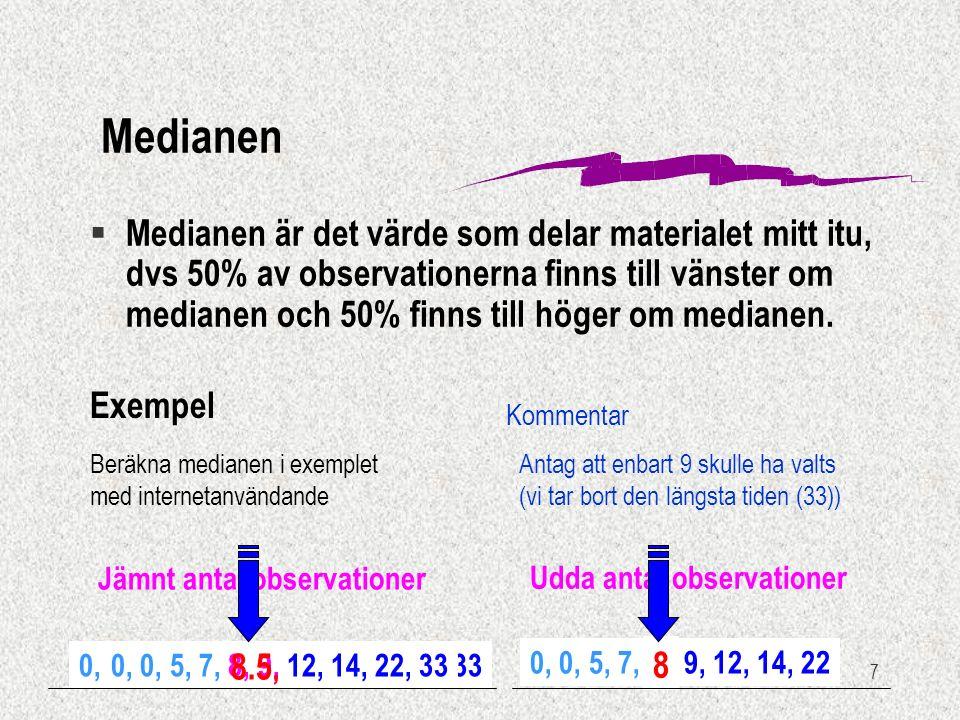 7 Udda antal observationer 0, 0, 5, 7, 8 9, 12, 14, 22 0, 0, 5, 7, 8, 9, 12, 14, 22, 33 Jämnt antal observationer Exempel Beräkna medianen i exemplet med internetanvändande § Medianen är det värde som delar materialet mitt itu, dvs 50% av observationerna finns till vänster om medianen och 50% finns till höger om medianen.