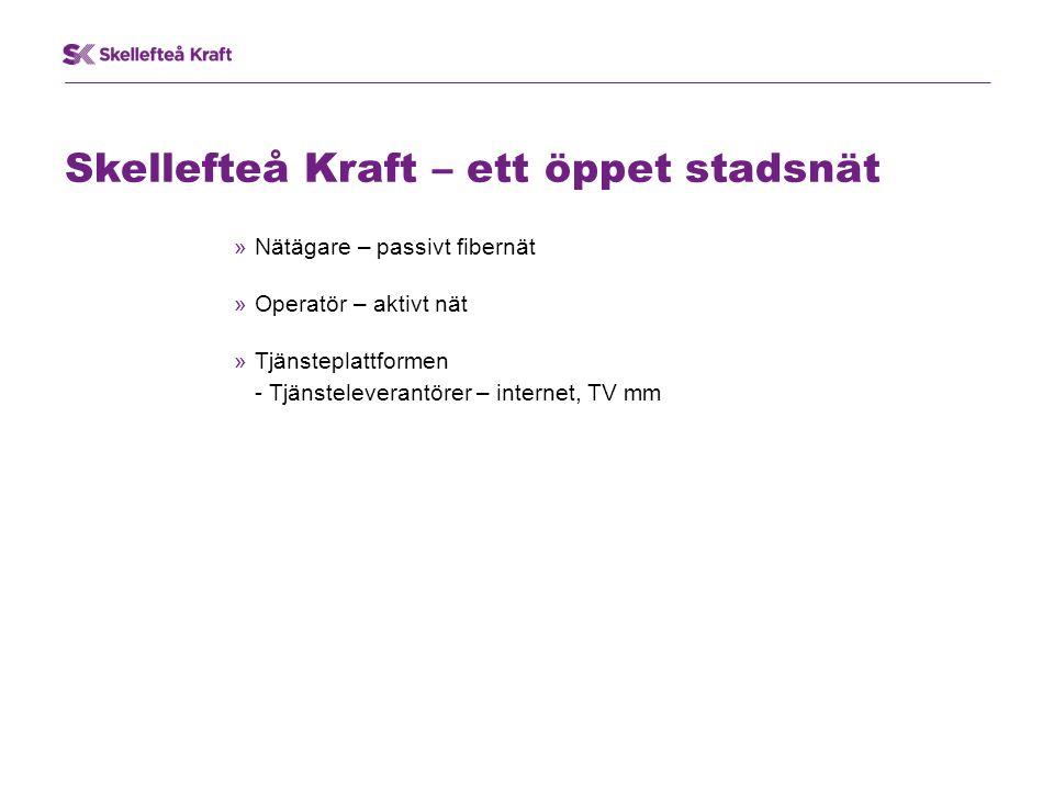 Skellefteå Kraft – ett öppet stadsnät »Nätägare – passivt fibernät »Operatör – aktivt nät »Tjänsteplattformen - Tjänsteleverantörer – internet, TV mm