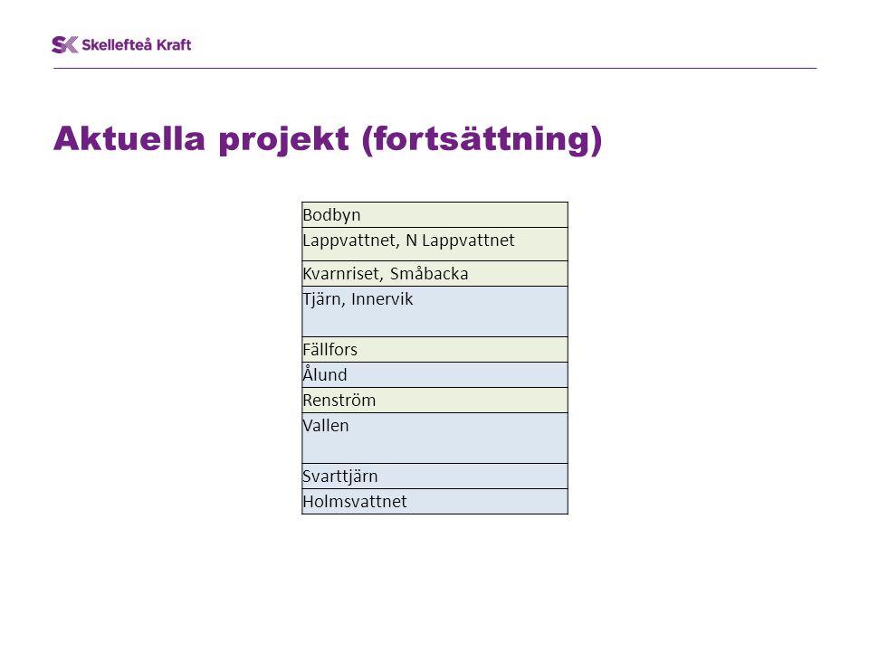 Aktuella projekt (fortsättning) Bodbyn Lappvattnet, N Lappvattnet Kvarnriset, Småbacka Tjärn, Innervik Fällfors Ålund Renström Vallen Svarttjärn Holmsvattnet