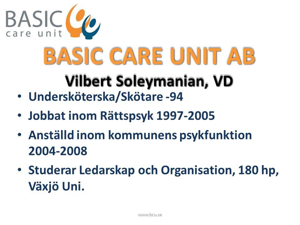 BASIC CARE UNIT AB (BCU) Hemtjänst, omsorg Hemtjänst, omsorg Hushållsnära tjänster (tilläggstjänster) Hushållsnära tjänster (tilläggstjänster) Enskild firma 2004 Enskild firma 2004 Aktiebolag 2007 Aktiebolag 2007 Godkänd aktör 2009 Godkänd aktör 2009 www.bcu.se