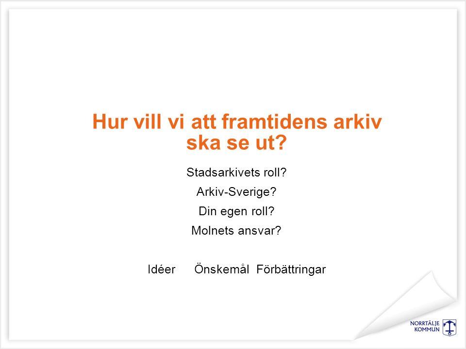 Hur vill vi att framtidens arkiv ska se ut? Stadsarkivets roll? Arkiv-Sverige? Din egen roll? Molnets ansvar? IdéerÖnskemål Förbättringar