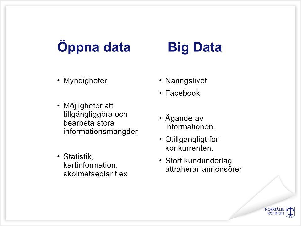 Öppna data Big Data Myndigheter Möjligheter att tillgängliggöra och bearbeta stora informationsmängder Statistik, kartinformation, skolmatsedlar t ex Näringslivet Facebook Ägande av informationen.