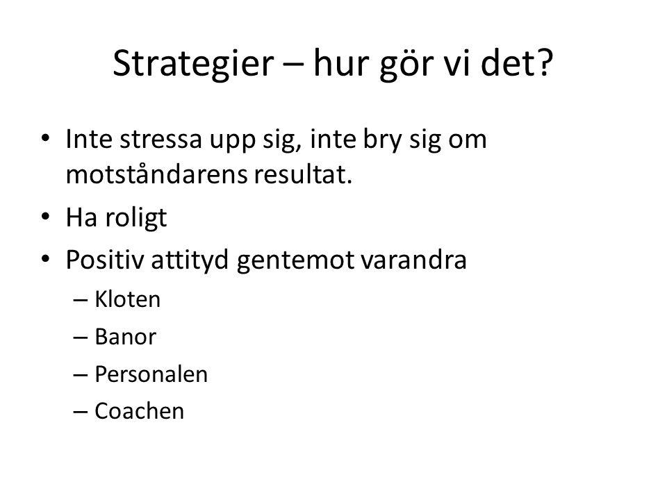 Strategier – hur gör vi det.Inte stressa upp sig, inte bry sig om motståndarens resultat.