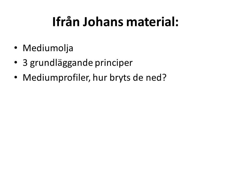 Ifrån Johans material: Mediumolja 3 grundläggande principer Mediumprofiler, hur bryts de ned