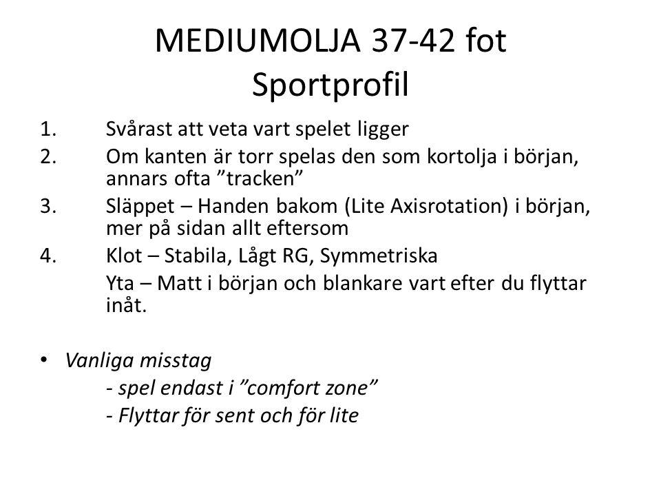 MEDIUMOLJA 37-42 fot Sportprofil 1. Svårast att veta vart spelet ligger 2.