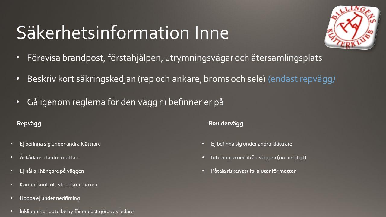 Säkerhetsinformation Inne Förevisa brandpost, förstahjälpen, utrymningsvägar och återsamlingsplats Beskriv kort säkringskedjan (rep och ankare, broms