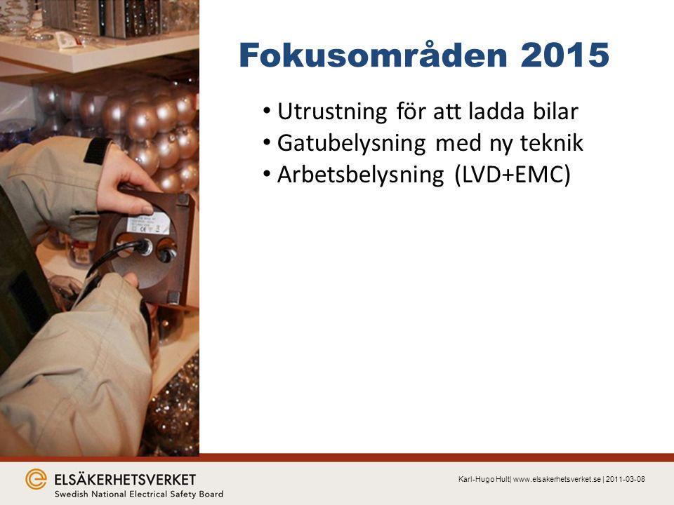 Fokusområden 2015 Karl-Hugo Hult| www.elsakerhetsverket.se | 2011-03-08 Utrustning för att ladda bilar Gatubelysning med ny teknik Arbetsbelysning (LVD+EMC)