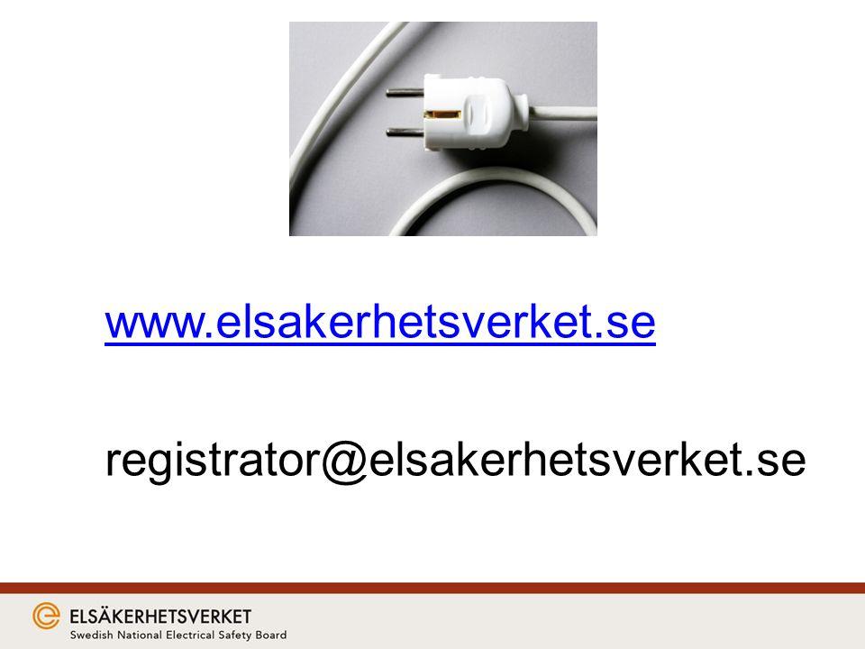 www.elsakerhetsverket.se registrator@elsakerhetsverket.se