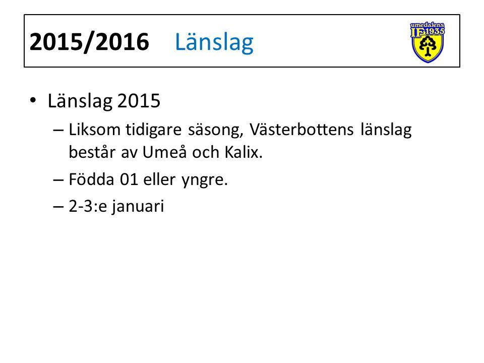 Länslag 2015 – Liksom tidigare säsong, Västerbottens länslag består av Umeå och Kalix.