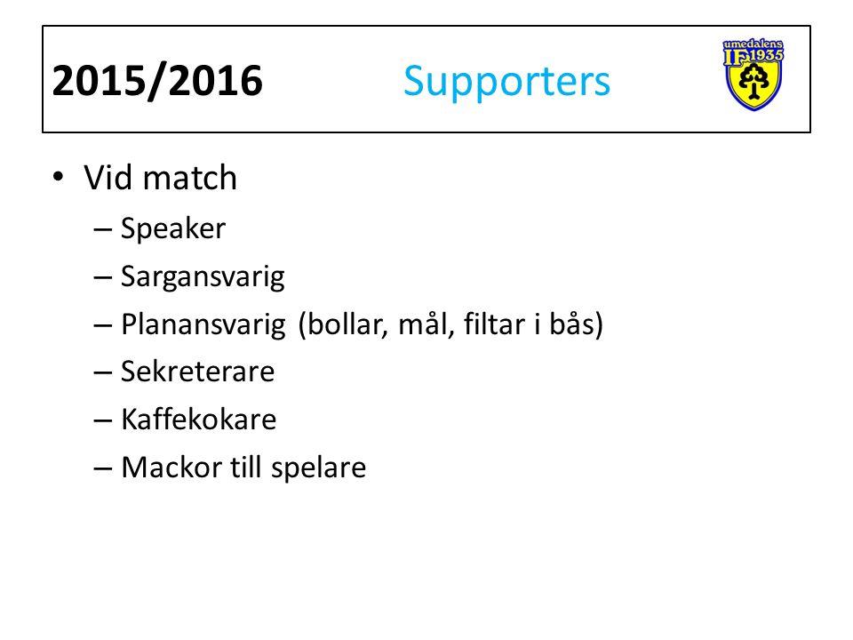 Vid match – Speaker – Sargansvarig – Planansvarig (bollar, mål, filtar i bås) – Sekreterare – Kaffekokare – Mackor till spelare 2015/2016 Supporters