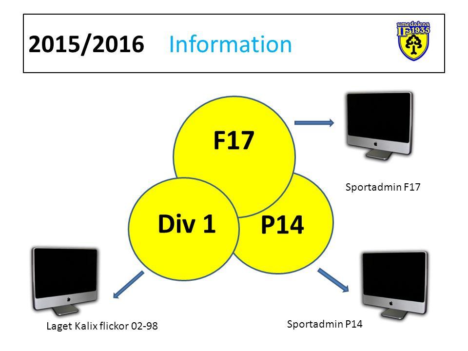 2015/2016Information F17 P14 Div 1 Sportadmin F17 Sportadmin P14 Laget Kalix flickor 02-98