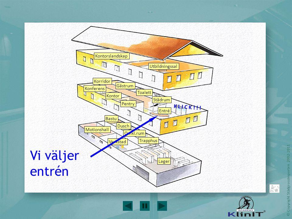 © Copyright StädgrossImporten 2002-2011 Vi går igenom städinstruktionen… EntréEntré Rengör entréns/vindfångets golv och glas