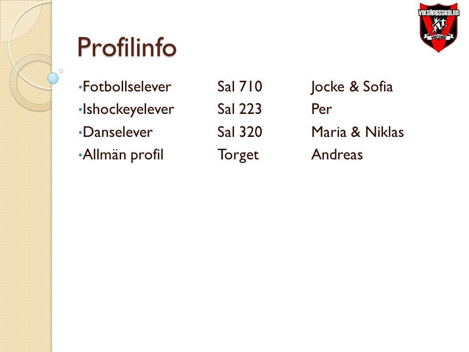Profilinfo FotbollseleverSal 710Jocke & Sofia IshockeyeleverSal 223Per DanseleverSal 320Maria & Niklas Allmän profilTorgetAndreas