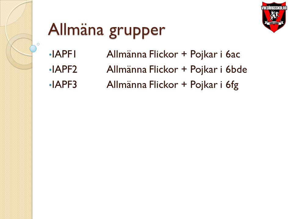 Allmäna grupper IAPF1Allmänna Flickor + Pojkar i 6ac IAPF2Allmänna Flickor + Pojkar i 6bde IAPF3Allmänna Flickor + Pojkar i 6fg