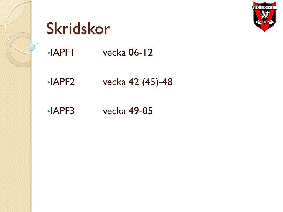 Skridskor IAPF1vecka 06-12 IAPF2vecka 42 (45)-48 IAPF3vecka 49-05