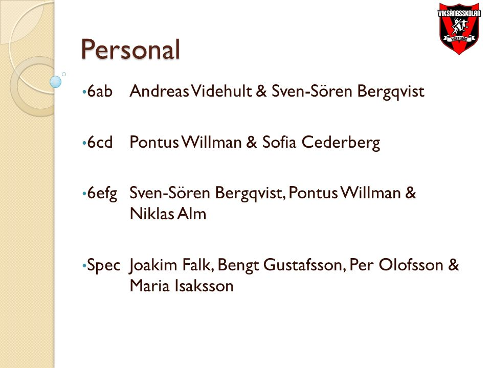 Personal 6ab Andreas Videhult & Sven-Sören Bergqvist 6cd Pontus Willman & Sofia Cederberg 6efgSven-Sören Bergqvist, Pontus Willman & Niklas Alm SpecJoakim Falk, Bengt Gustafsson, Per Olofsson & Maria Isaksson